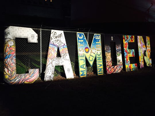 A large letter mural created by Gallery Eleven One
