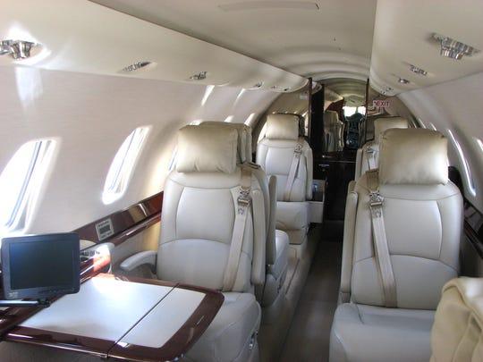 The custom interior produced by Pentastar Aviation.