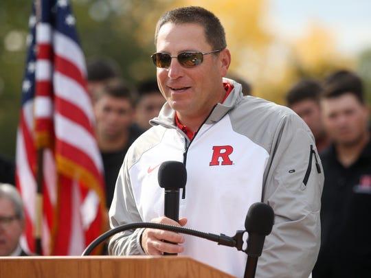 Rutgers baseball coach Joe Litterio speaks at the groundbreaking