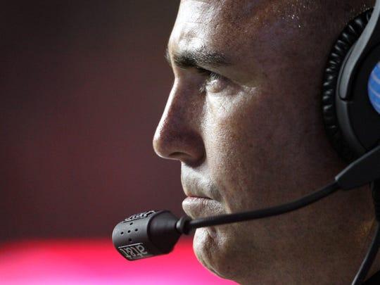Rutgers coach Kyle Flood on sidelines against Ohio