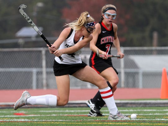 Bridgewater-Raritan's Ally Mastriannie scores a first half goal in front of Hunterdon Central's Nikki Freeman in the North 2 Group IV sectional final, Thursday, November 5, 2015, in Bridgewater.