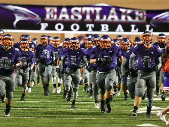Eastlake's Falcons take the field .