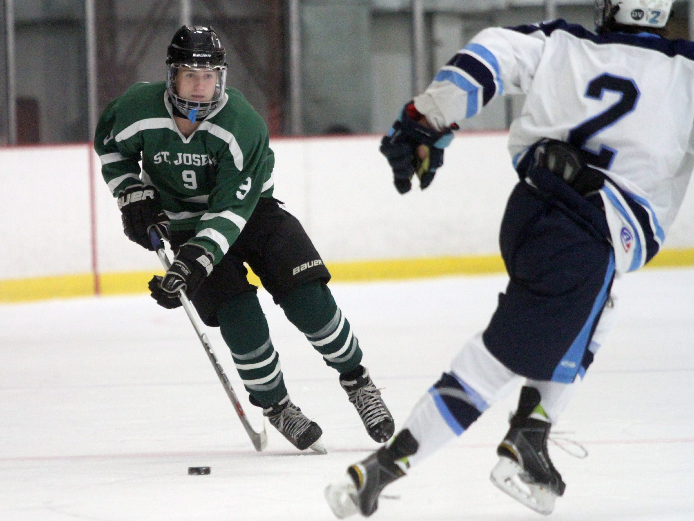 St. Joseph's Brian Coelho skates against CBA, Monday, November 23, 2015, during a preseason scrimmage at Jersey Shore Arena in Wall.