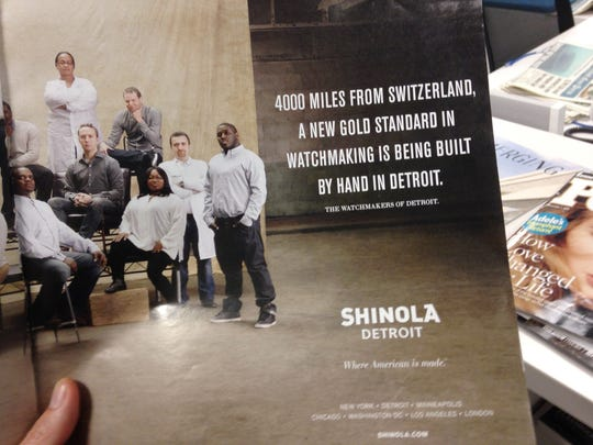 An advertisement for Shinola in Hour Detroit magazine from April 2015.