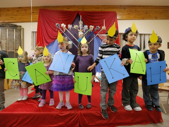 Children at Chabad Lubavitch performed a skit about