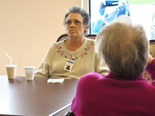 Frances Frailing sits at a table in the common room at Senior LIFE York. She visits it five days a week, for activities, physical therapy, and visits with a doctor