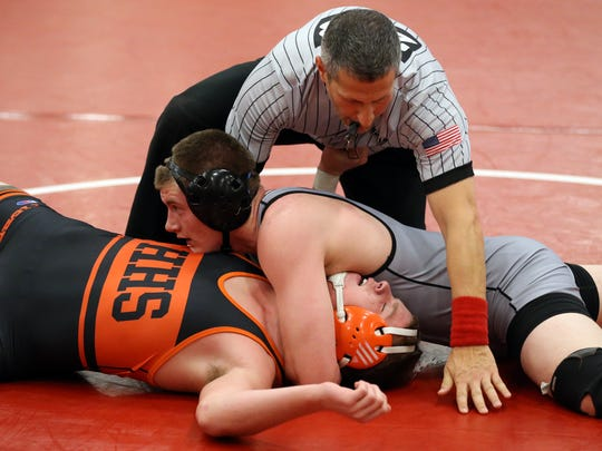 Bridgewater-Raritan's Van Miller pins Kyle Connelly of Hackettstown in the 195lb semifinal match at the Hunterdon Central Invitational wrestling tournament, Monday, December 28, 2015, in Flemington.