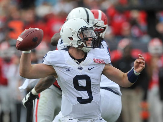 Penn State QB Trace McSorely throws a pass during the