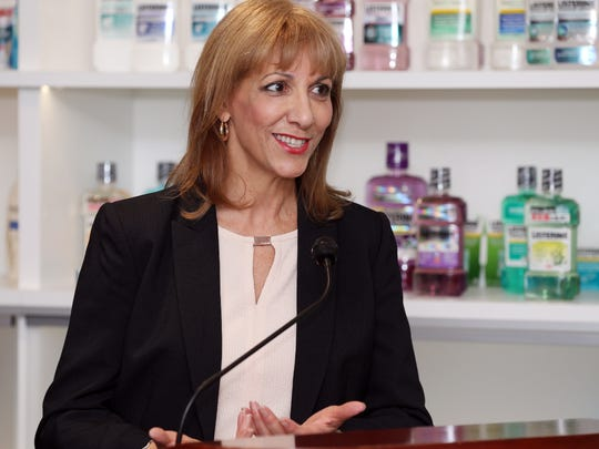 Cathy Salerno, a scientist for Johnson & Johnson's personal care products business, discusses the Microbead-Free Waters Act of 2015, Tuesday, Jan. 5, 2016, during a press conference at Johnson & Johnson in New Brunswick.