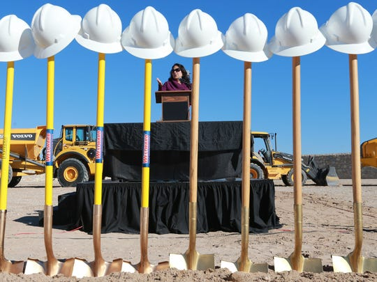 El Paso County Judge Veronica Escobar speaks during a groundbreaking ceremony for eight major road construction projects that will total over $112 million. The ceremony was held at Mission Ridge Boulevard and Paseo del Este Drive near Horizon City.