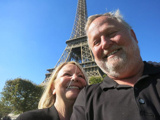 Sylvia Rector and her husband, Charles Hill, on vacation in Paris, took obligatory selfies at the foot of the Eiffel Tower on Sept. 29, 2015. (photo by charles hill)