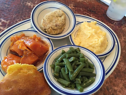 Southern food at the Five Sisters restaurant, Pensacola,