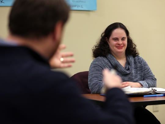 Student Caryn Croll participates in class, Wednesday, January 27, 2016, at the Achievement Center at Raritan Valley Community College in Branchburg.