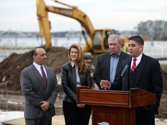 (Left to right) Monmouth County Freeholder director Thomas Arnone, deputy director Serena DiMaso, and Belmar council president Brian Magovern join Belmar Mayor Matt Doherty at the groundbreaking ceremony for the new $6 million Belmar marina project.