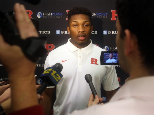 Rutgers LB Solomon Manning of Colonia, speaks with reporters, Wednesday, February 3, 2016, at the Hale Center in Piscataway.