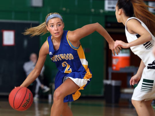 Spotswood's Jess Meagher drives on Syleen Reyes of South Plainfield during the third quarter, Monday, February 15, 2016, in South Plainfield.