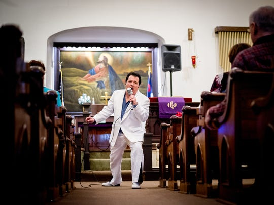 Elvis impersonator Joe Forrester performs at St. Paul United Church of Christ in Shrewsbury for a Lenten 'Hymns of Faith' service.