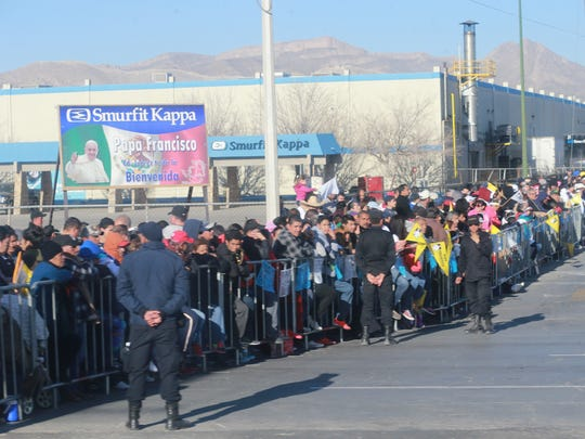 Pope Airport Juarez - People lined up outside the Juarez airport awaiting the arrival of                                     Pope Francis Wednesday Feb. 17, 2016 in Ciudad Juarez, Chihuahua, Mexico.