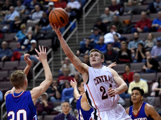 Central York High School's Jared Wagner goes up for a shot during the Panther's 52-51 overtime victory over Spring Grove in the D3 AAAA boys semifinal in the Giant Center in Hershey, Pa. on Tuesday, Feb. 23, 2016.