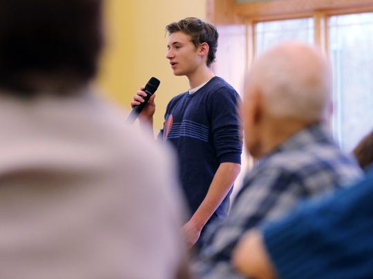 Seventeen-year-old Brad Levin of Warren speaks to seniors at the Somerset County Senior Wellness Center on Monday, March 14, 2016, in Bridgewater. Levin has raised $160,000 for the Preston Robert Tisch Brain Tumor Center at Duke University as a tribute to his grandmother, who lost her life to a brain tumor.