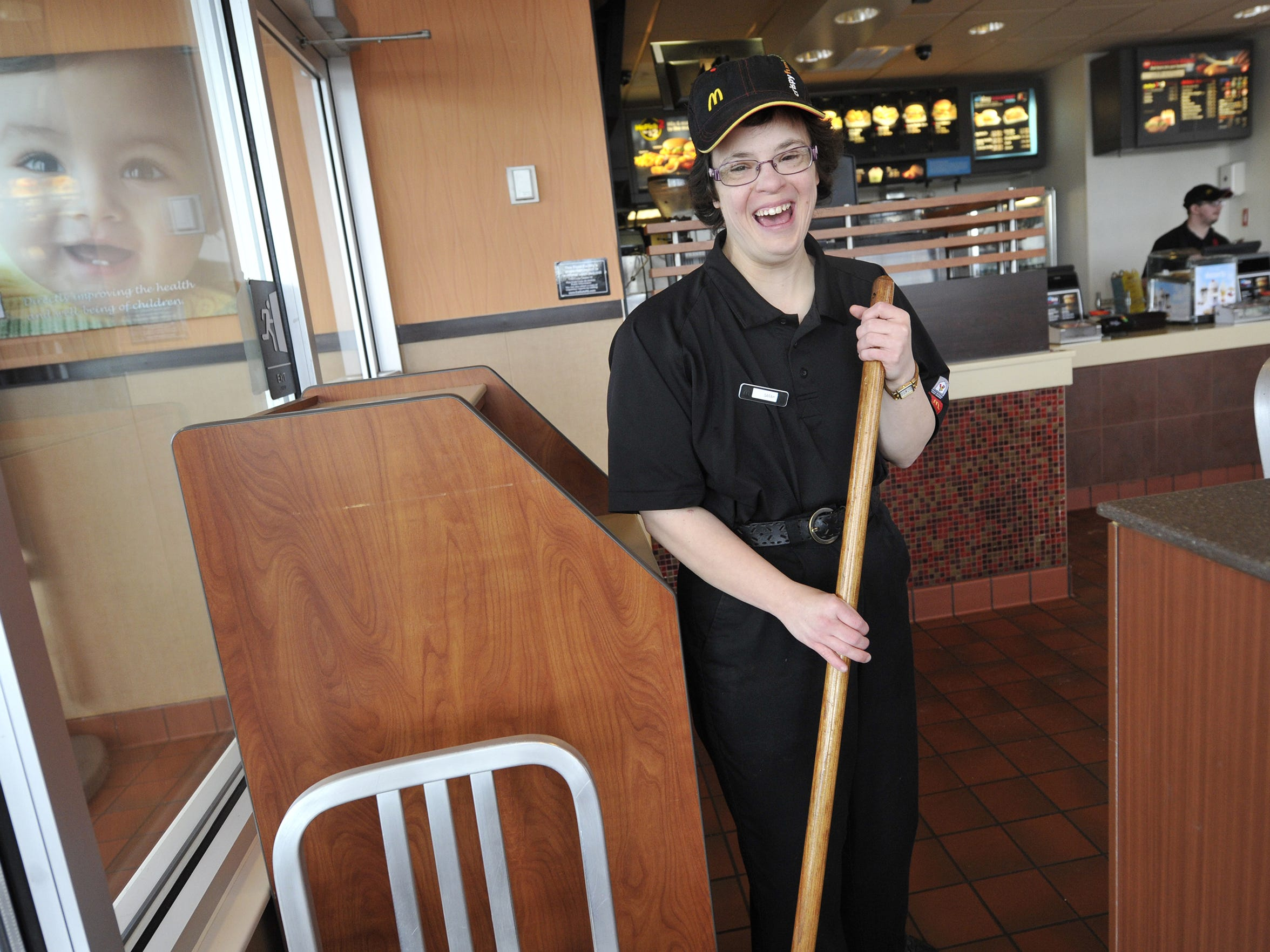 Sarah Keeney, 36, who has Down Syndrome, works at the McDonald's on Leaders Heights, reads at a second-grade level and can do simple chores. But she needs help with other life skills. Her mother, Suzanne Keim, had recently begun to worry about what would happen if she were no longer able to care for Sarah.