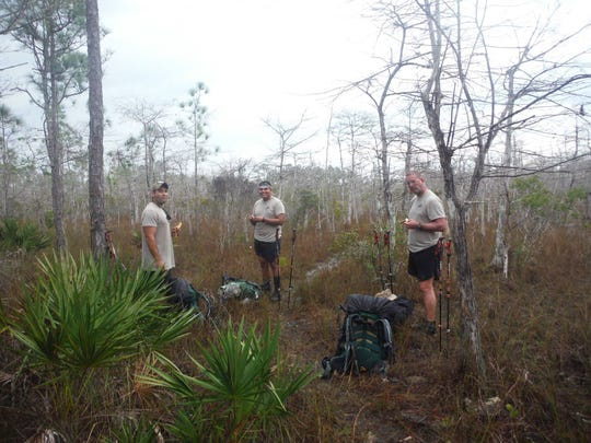 Daniel Caballero, Henry Lehman, and Dylan Tearle completed a 1,200 mile trek across the state of Florida as part of the Warrior Expeditions program.