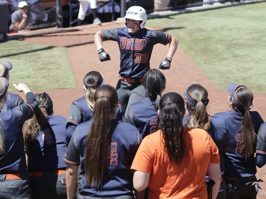 UTEP's Taylor Sargent arrives at home plate after a solo home run Sunday against UTSA.