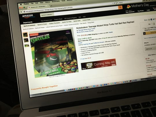 The USB-powered Teenage Mutant Ninja Turtle Heli Ball, as seen here on sale on Amazon.com, flew undetected over the wall at a Jackson-area prison Tuesday and was later discovered on the ground by staff.