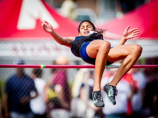 Cedar Crest's Ariel Jones clears the bar in the AAA girls high jump during the PIAA Track and Field Championship meet at Shippensburg University on Saturday, May 28, 2016. Jones placed fourth with a high jump of 5-7.