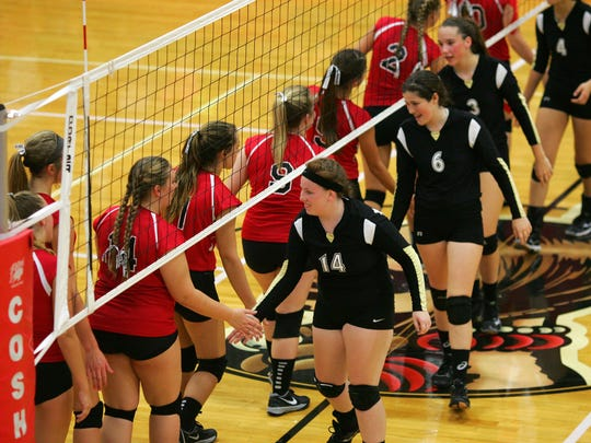 Coshocton and River View shake hands after a game last season,.