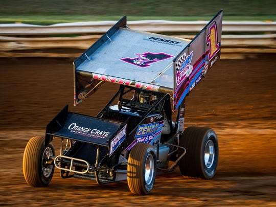 Lucas Wolfe slides through a turn during a time trial before the World of Outlaws Tuneup Friday at Williams Grove Speedway.