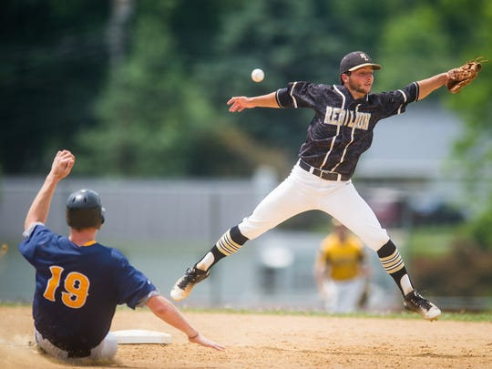 Red Lion's Alex Zelger (3) misses a wild throw at second base allowing Mount Wolf's Mark Burnside to slide in safely during the Central League - Susquehanna League All-Star Game in Hallam on Saturday, July 16, 2016. The Central League team won 4-2.