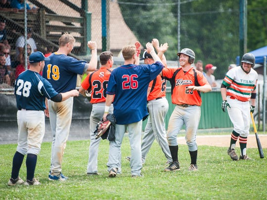 Stoverstown's Levi Krause (23) celebrates a solo home run during the Central League - Susquehanna League All-Star Game in Hallam on Saturday, July 16, 2016. The Central League team won 4-2.