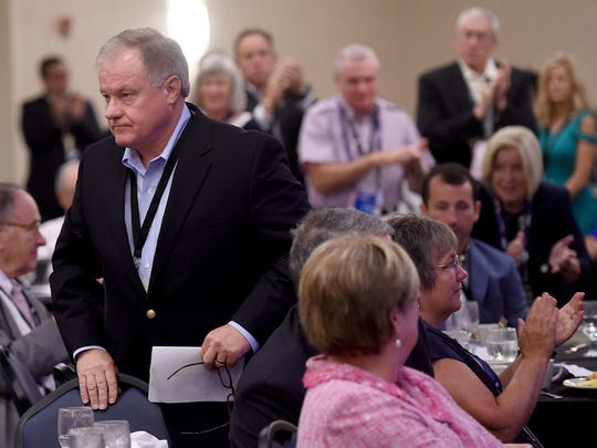 State Sen. Scott Wagner received a partial standing ovation after his speech at the Pennsylvania Republican delegate breakfast in Westlake, Ohio on Tuesday.