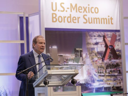 El Paso businessman Woody Hunt welcomes attendees of the 2016 U.S.-Mexico Border Summit on Thursday at the Judson F. Williams Convention Center.