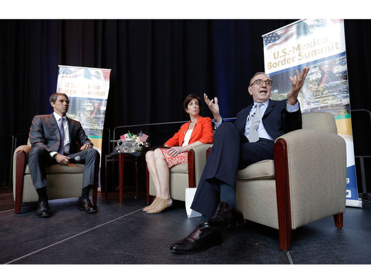 A panel featuring Mexican Ambassador to the U.S. Carlos Sada, right, and U.S. Ambassador to Mexico Roberta Jacobson fields questions from moderator and U.S. Rep. Beto O'Rourke, D-El Paso, on Thursday during the 2016 U.S.-Mexico Border Summit.
