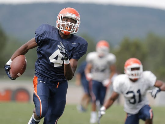 UTEP freshman running back Quadraiz Wadley scampers into the endzone during Tuesday's scrimmage at Camp Ruidoso.