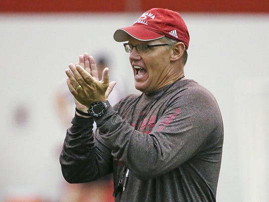 Defensive coordinator Tom Allen calls out to players during Indiana University football practice at John Mellencamp Pavilion, Bloomington, Ind., Monday, August 15, 2016.