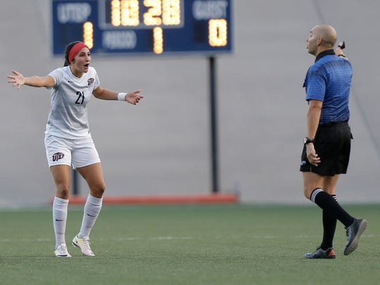 UTEP midfielder Bri Barreiro disagrees with a call during Friday's game against NMSU.
