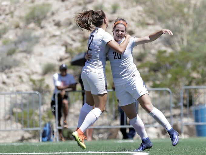 UTEP forward Jeanna Mullen, right, celebrates her goal