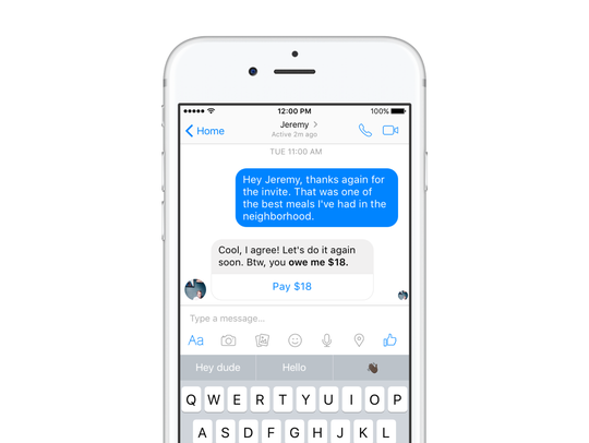 Payment reminders in Facebook Messenger.