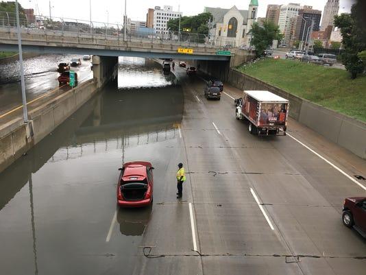 Detroit highway floods
