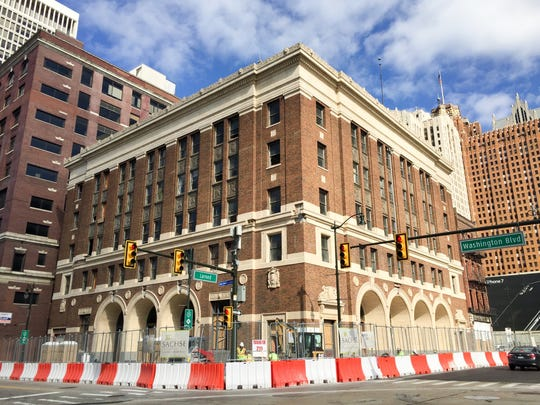 The future Fountain Hotel at Larned and Washington Blvd.  near Cobo Hall is being created out of the former downtown Detroit firehouse.