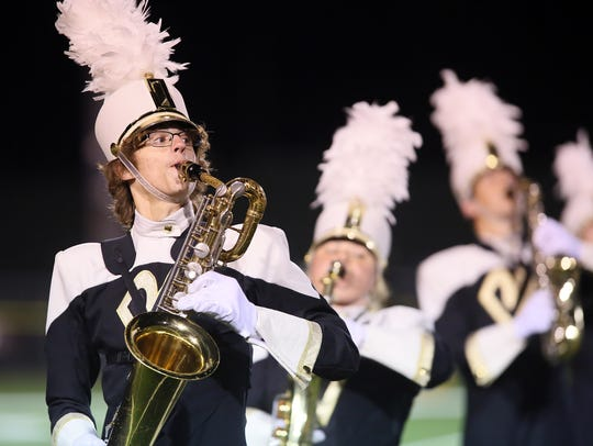 The River View Black Bear Marching Band performs at