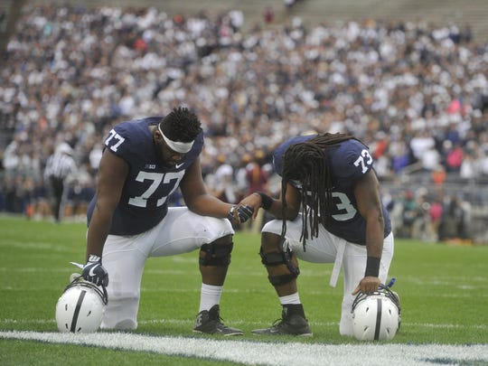 Injuries have opened the door for backup offensive tackles Paris Palmer, right, and Chasz Wright, left. Palmer, who nearly gave up football, took about the most circuitous route to Penn State.