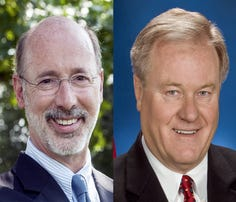 Republican State Sen. Scott Wagner, right, who said Thursday he intends to run for governor, has the potential to face off against Democratic Gov. Tom Wolf, left, in 2018.