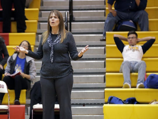 Eastwood head coach Endi Vargas reacts to a call late in the game this past season against El Dorado. Vargas won her 400th game before retiring.