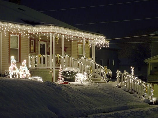 The home at 366 Hamilton Ave. is decorated in both the front and back, really lighting up the corner lot.