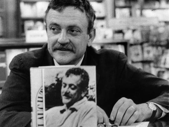 Author Kurt Vonnegut is pictured at a 1969 book-signing