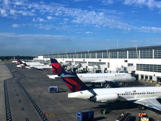 Planes parked at Metro Airport's McNamara Terminal.